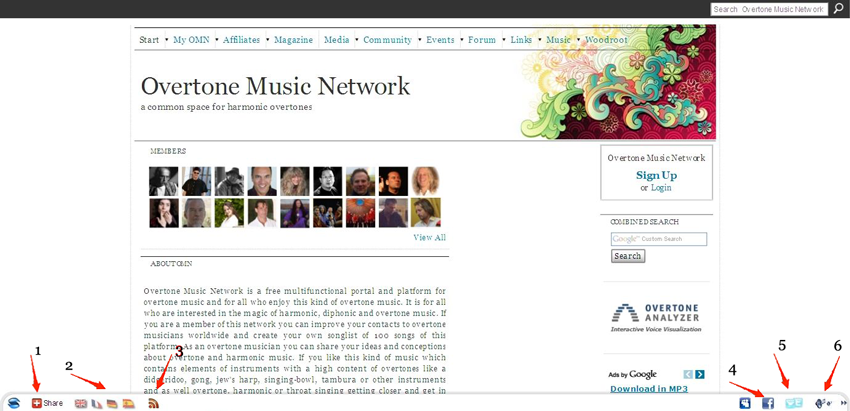 Overtone Music Network Footer Bar