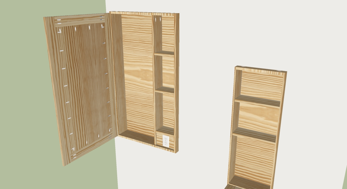 The Larger Cabinet Is Designed To Fit An Over The Door Ironing Board And  The Frame Of It Can Easily Be Clamped To The Sides Of The Cabinet.