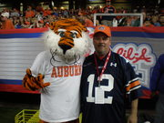 Hanging with Aubie on the side lines
