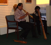 Navajo fluteplayer Andrew Thomas and Aboriginal Australian didgeridoo player Heath Bergersen in concert in Albuquerque