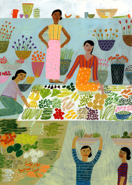 Women Selling Veggies