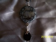 Extra large dragonskin coin w black agate