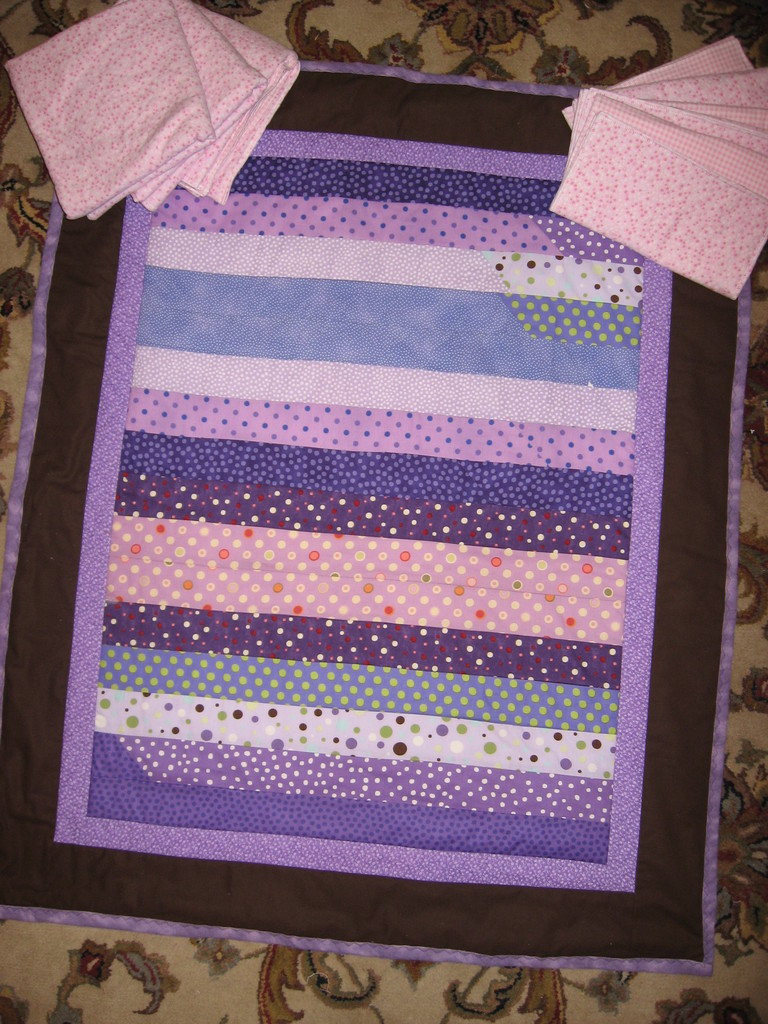 purple strip quilt