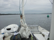 57. last morning - motoring up the Exe estuary to the mooring