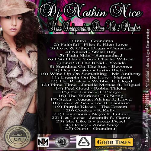 Dj Nothin Nice - Miss Independant Diva vol 2 Playlist