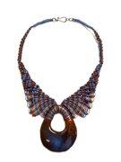 415/Blue butterfly terra-cotta necklace