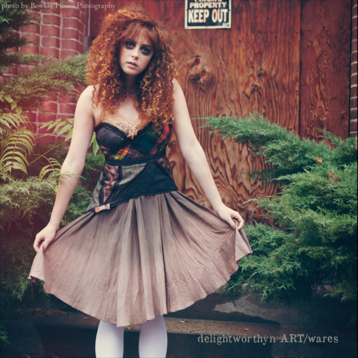 Putty and Bias Cut Plaid Slip Dress