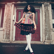 Patchwork Pinafore over Plaid Elastic Waist Skirt