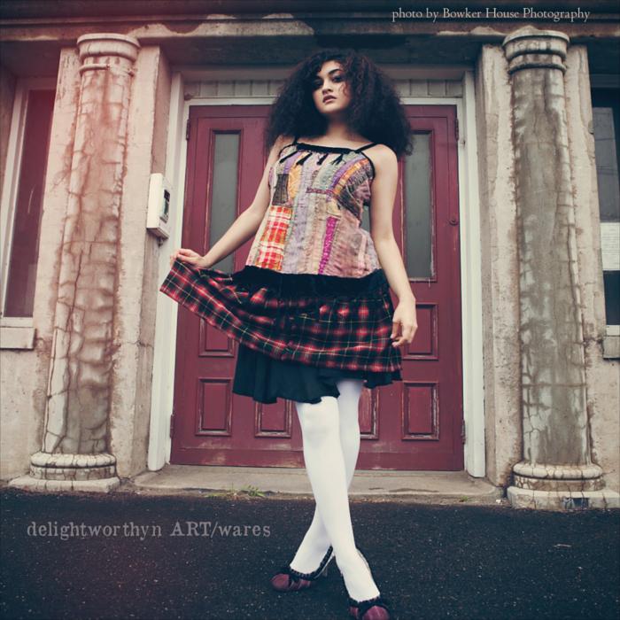 Patchwork Pinafore over Plaid Elastic Waist Skirt