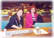 En el Salon de la ONU en el Podio de Ecuador