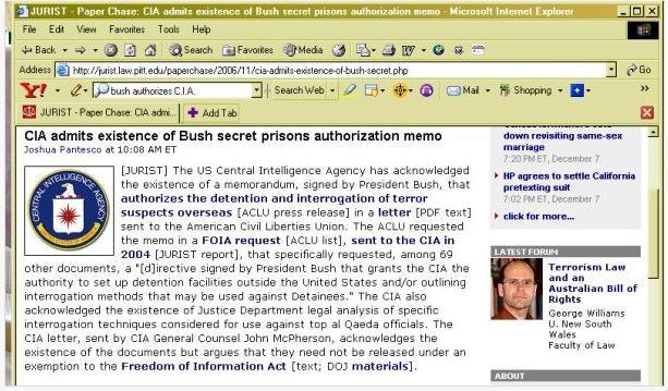 Bush Authorizes Torture C.I.A. Memo