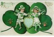 vintage-saint-patricks-day-greeting-two-kids-dancing-shamrocks