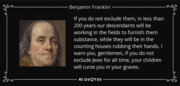 BEN FRANKLIN WARNS about the JEWS