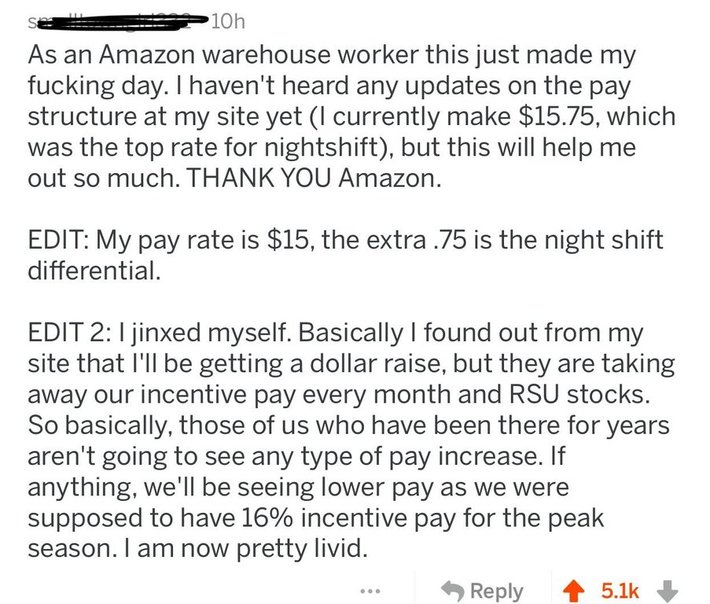 Amazon warehouse worker gets exited for pay raise then quickly realizes he will be losing his RSU stocks. Attitude changes very quickly.