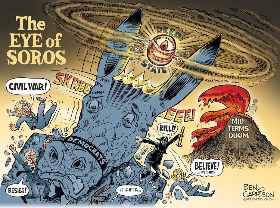 New Ben Garrison Cartoon  ---  #EyeofSoros  #DemocratMob is desperate - #RedWave2018 #HillaryClinton #civility #SorosFunded #MobRuleDemocrats