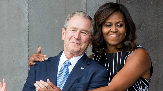 """Michelle Obama: George W. Bush is my """"partner in crime"""""""