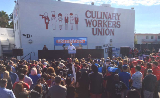 Creepy Biden gets a couple dozen to LOW-ENERGY MOB Democrat rally in Las Vegas(