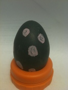 Blueberry dyed egg decorated with chalk