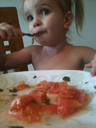 Tomato basil salad makes baby happy