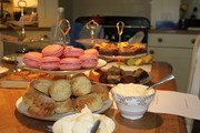 Scones, macaroons and brownies all ready for the table