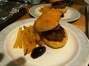 Hare burgers with fries and sloe gin jelly