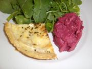 Quiche, Beetroot Humus & Salad