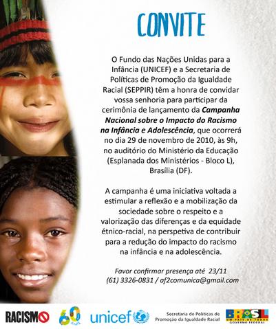 Campanha Mundial sobre o Impacto do Racismo na Infância e Adolescência