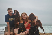 Our whole pack on the beach