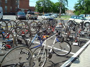 Bikes await their riders for the next leg of the journey