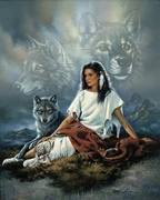 Native Girl & Wolves
