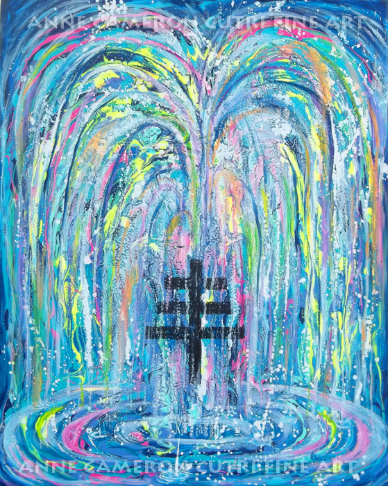 Prophetic Message Sketch 19 MY WILL BE DONE Fountain and Triple cross - Anne Cameron Cutri