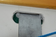 Galvanized chainplate through bulwark.