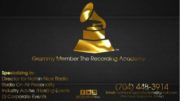 @DjNothinNice #GrammyMember Business Card