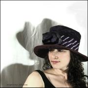 Tall Eggplant Purple Linen Hat
