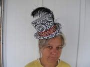 Anna in Steampunk hat made from recycled Fabric