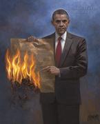 Obama burning Constitution