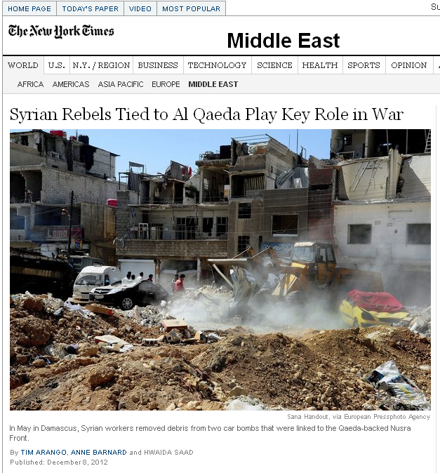 The New York Times -Syrian Rebels Tied to Al Qaeda Play Key Role in War