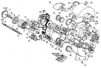 Gearturbine Patent Draw, Hand Made, Isometric