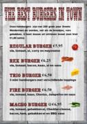 Menukaart best Burgers in Town @ REX