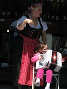 Shelia teaches a younster on the Accordion