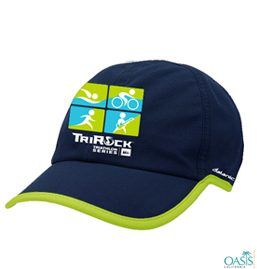 blue cap with company logo