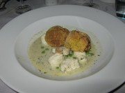 Spiced monkfish with arancini