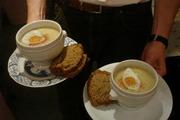 Celeriac  & Potato Soup with Smoked Salmon & a Quails Egg