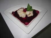 Spiced Almond Mousse with berry coulis