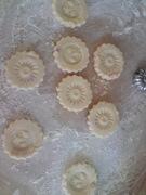 decorating rose petal shortbread