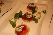Herb pikelet with beetroot cured salmon
