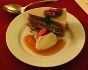 Pecan Layer Cake with maple mousse, vanilla ice cream and apricot caramel