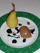 Pears poached in Sauterne with chocolate mousse