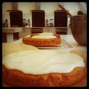 Carrot Cake being pieced together