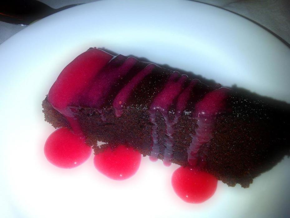 Chocolate cake with Raspberry Coulis